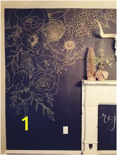 Faux Wallpaper Gold Paint Marker Mural Ideas for redecorating your home