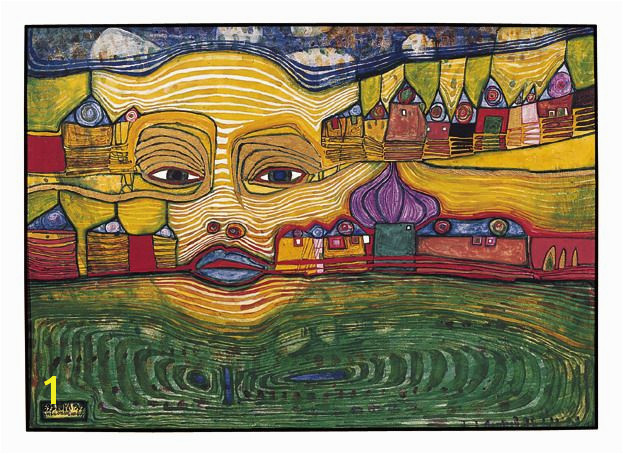 Paintings Hundertwasser IRINALAND SUR LES BALKANS 1969 I wanted to paint a picture which seemed to dissolve and had lots of the Balkans in it