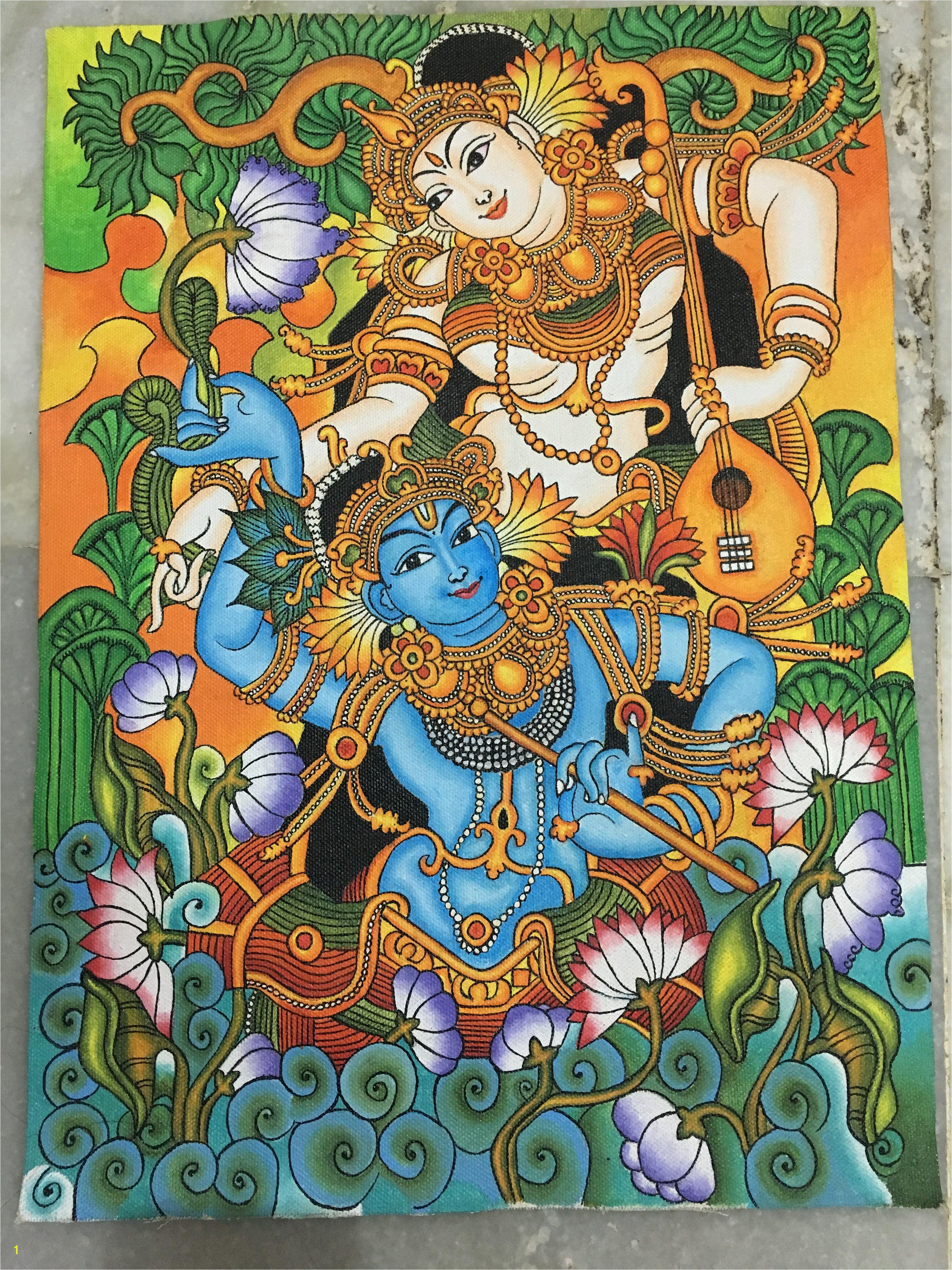 It s madhubani Radha Krishna painting Indian Art Paintings Kerala Mural Painting Indian Artwork