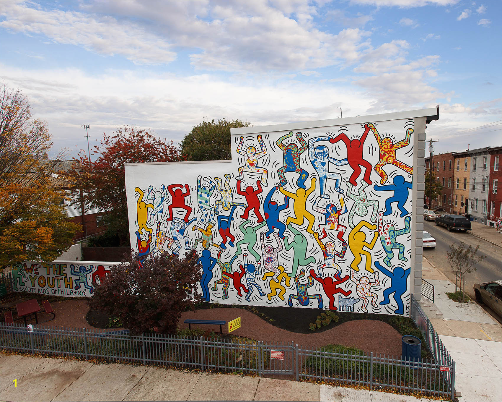 Originally created in 1987 We the Youth is the only Keith Haring collaborative public mural remaining intact and on its original site artist Keith Haring