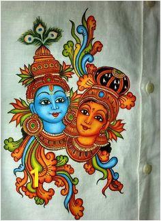 Mural Painting On Fabric Kerala Mural Painting On Kasavu Saree Paintings