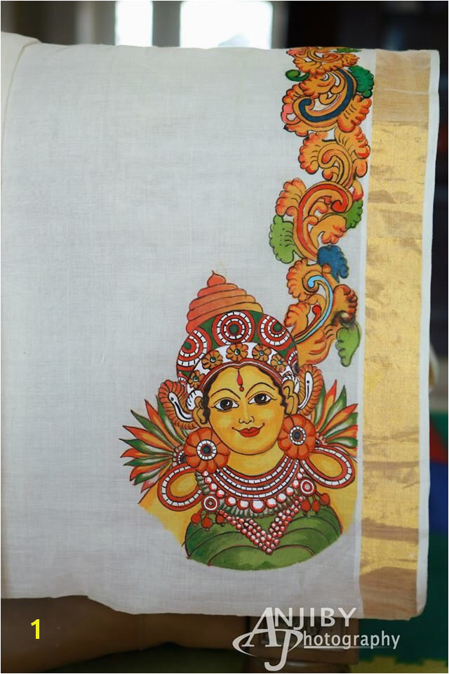 Kerala mural painting on Kasavu Saree Paintings Pinterest