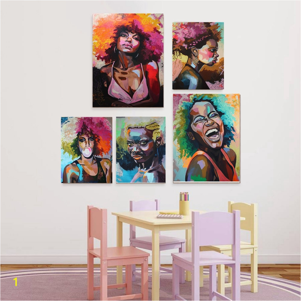 Afro Woman Portrait Wall Art Canvas Print Abstract Multi African Girl Canvas Paintings for fice Room Home Wall Decor Drop Ship
