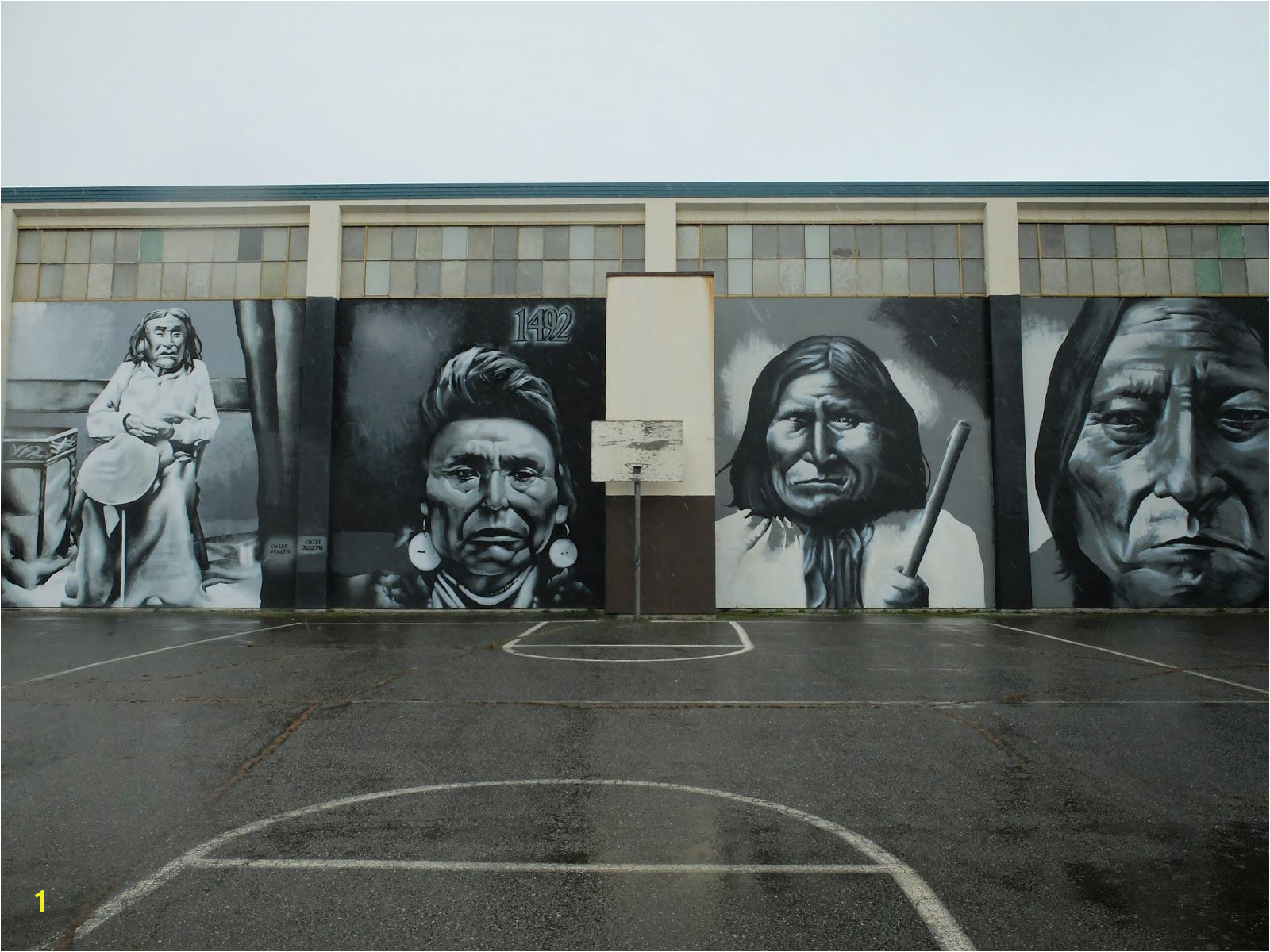 Mural of Chief Seattle Chief Joseph Geronimo and Sitting Bull
