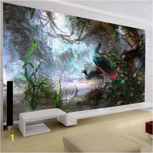 3D Nature Wallpaper Beautiful Peacock Forest 3D Stereo Oil Painting Mural Living Room Setting Wall Landscape Decor 3D Panel Wall