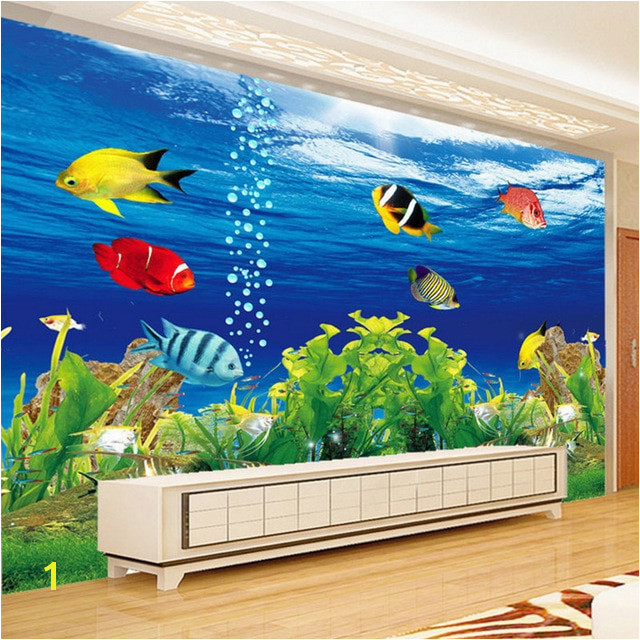 3D Wallpaper Stereo Cartoon Underwater World Fish Mural Kid s Bedroom Landscape Design Wall Painting 3D Non Woven Fresco