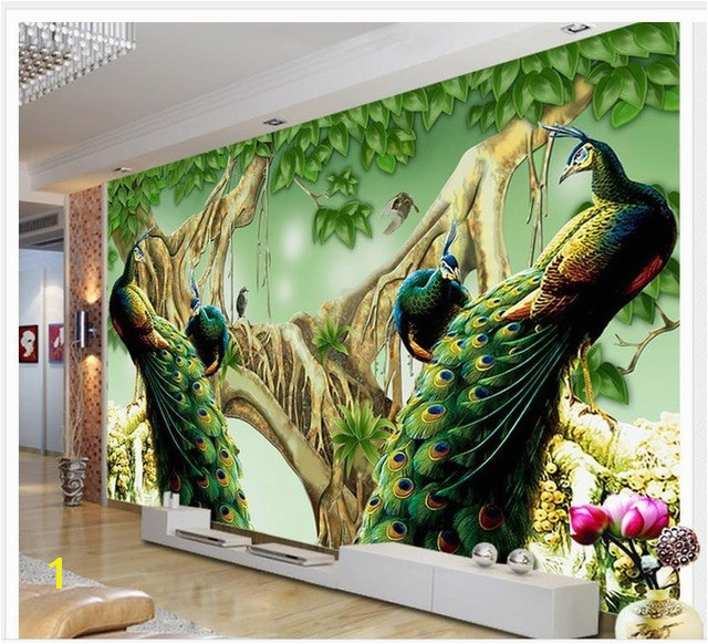 Beautiful peacock TV background wall decoration painting photo 3d wallpaper Home Decoration wall 3d wallpaper