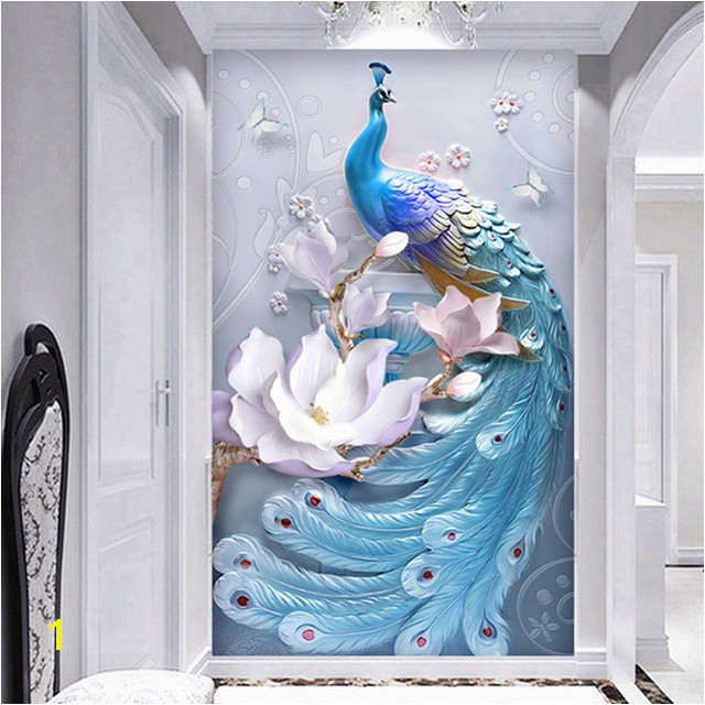 Mural Painting Supplies Custom Any Size Mural Wallpaper 3d Stereo Relief Blue Peacock