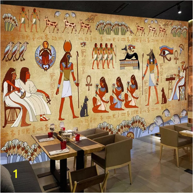 Wallpaper European Style Retro 3D Ancient Egyptian Pharaoh Statue Murals Wall Painting Restaurant Cafe Hotel