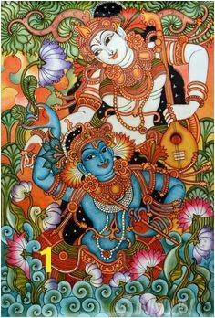 Buy Fine art painting Krishnan and Radha with Thamburu