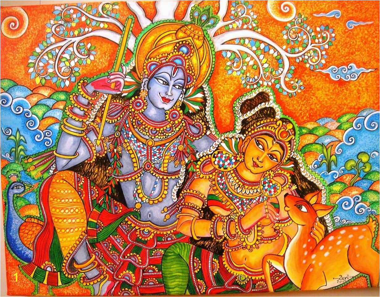 Kerala mural Krishna Art Radhe Krishna Krishna Painting Krishna Tanjore Painting