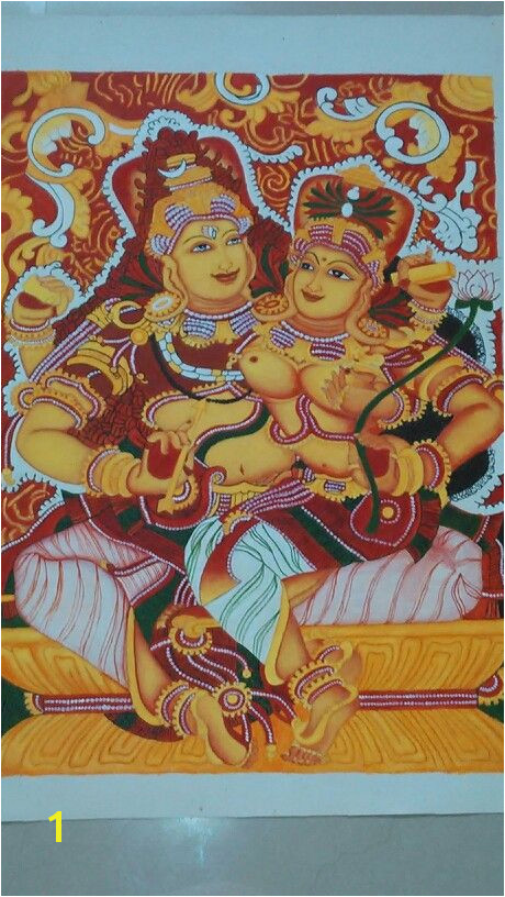 Kerala mural painting Lord Shiva and parvathi by Athira K S