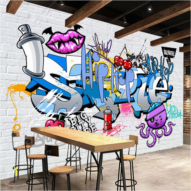 Custom 3D Mural Wallpaper Street Art Graffiti Cartoon Hand Painted Brick Wall Background Decor Wall Painting Non woven Wallpaper