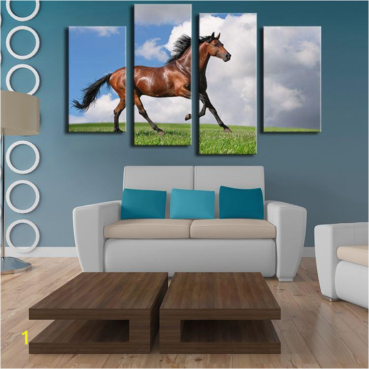 2019 4 Panels Horse Art Picture Frames Wall Painting Print Canvas For Home Decor Ideas Paints Wall No Framed From Watchsaler