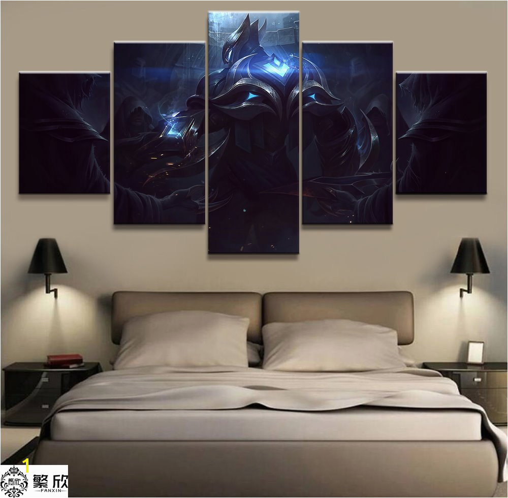 5 Panel LOL League of Legends Zed Game Canvas Printed Painting For Living Room Wall Art