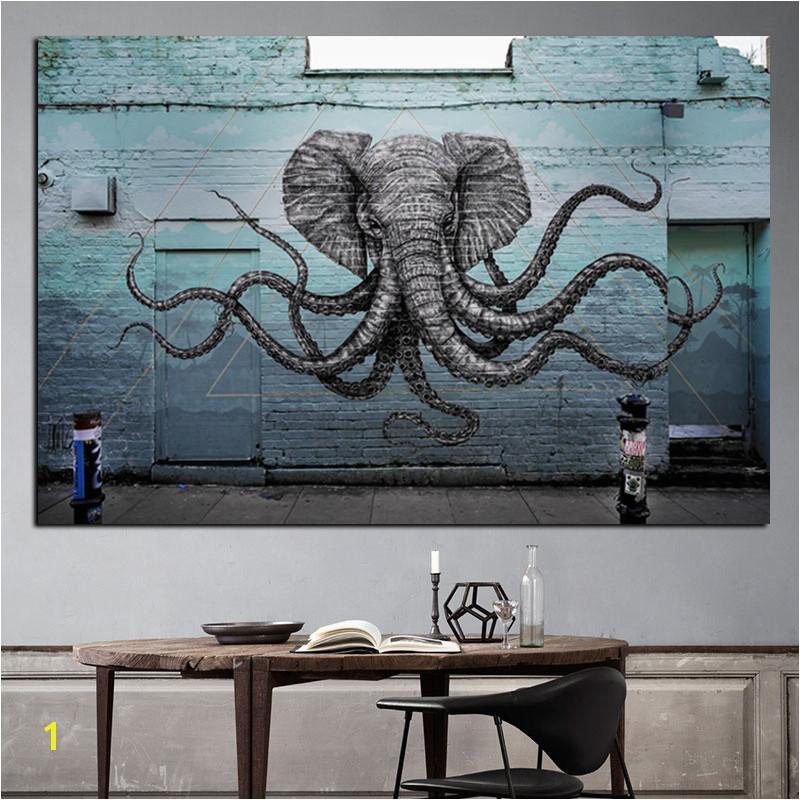 Mural of a Hybrid Elephant Octopus Creature Painting Print on Canvas Pop Art Animal Wall Picture