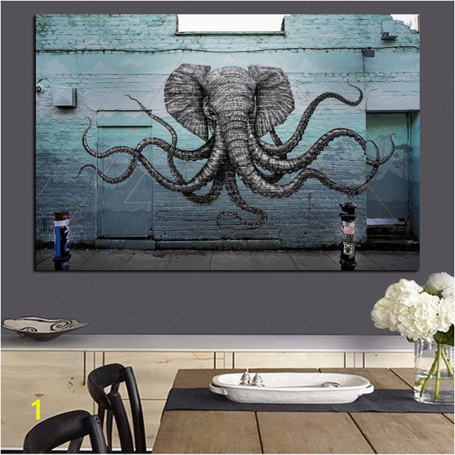 Mural of a Hybrid Elephant Octopus Creature Painting Print on Canvas Pop Art Animal Wall Picture for Living Room Cuadros Decor