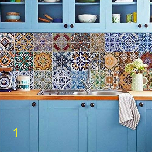 Backsplash Tile Stickers DIY Tile Decals Mexican Traditional Talavera Waterproof Peel and Stick Home Decor StairCase Decal Stair Mural Decals for Marble