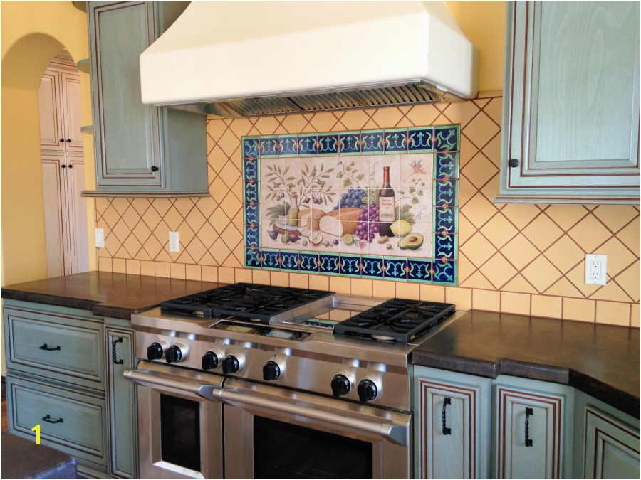 Hand Painted Tile Backsplash Kitchen