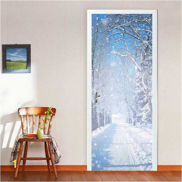 2 pcs set Door Stickers Wall Stickers DIY Mural Bedroom Home Decoration 3D Winter Snow Wall Stickers Poster Wallpaper 0D