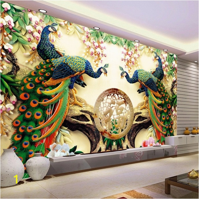 Custom 3D Wall Mural Wallpaper 3D Non woven Peacock Living Room TV Background Wall Painting Murales De Pared 3D Wallpaper