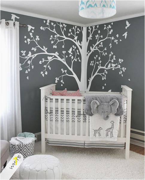 Murals for Baby Girl Nursery Baby Bedroom Home Art Decor Cute Huge Tree with Falling Leaves and