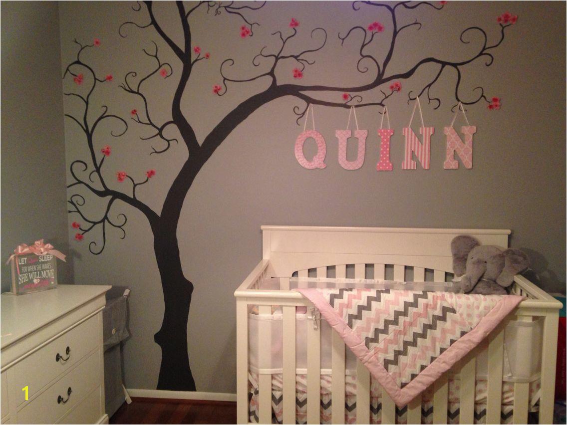 Murals for Baby Girl Nursery Baby Girl Nursery Grey Pink and White Tree Art Wall Mural Quinn