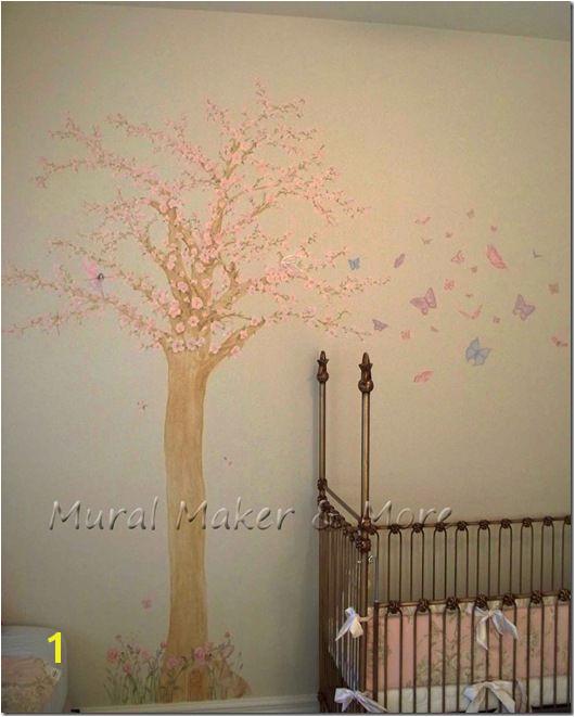 Cherry blossom tree mural in baby girl s nursery Fairy Nursery Garden Nursery Cherry