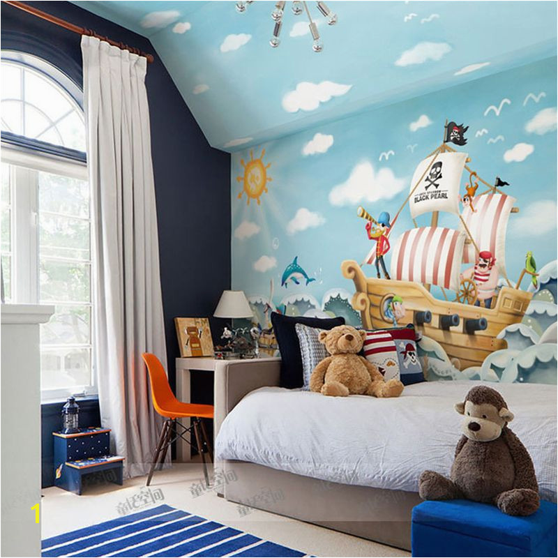 beibehang Wholesale Boat Jack Sparrow Mural Pirate 3d Cartoon Mural Wallpaper for Baby Children Kids Room