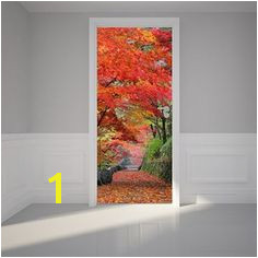 Door Wall Sticker Autumn leaves Self Adhesive Matt Fabric Mural
