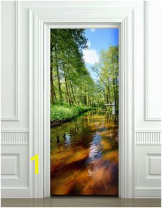 River Wall Decal Nature Wall Sticker Nature Door Mural Forest Door Wallpaper Door Sticker Home