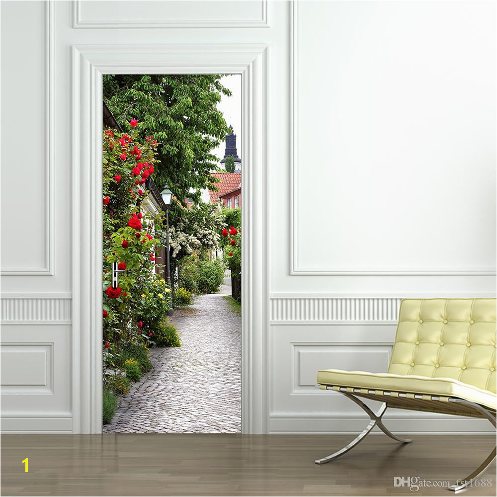 Rose Town Landscape Door Mural Stickers 3D Stickers Decorative Wall Stickers Vinyl Pvc Printed Decal Home Decoration Decal Door Poster Wall Stickers Design