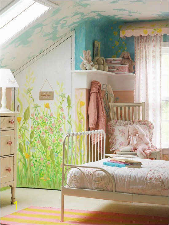 Little girls room Love the neat little nooks and crannies Not necessarily the mural though