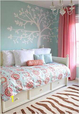 blue and pink girls room for customized wall murals