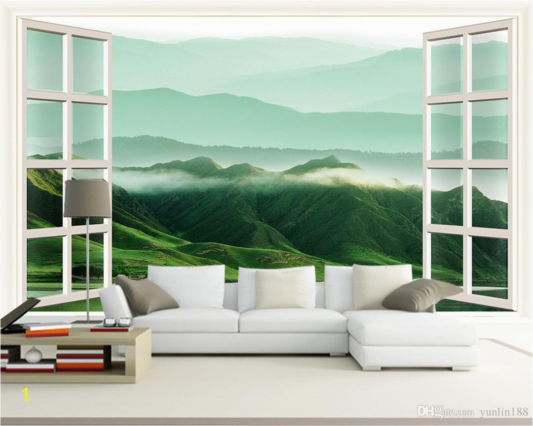 Großhandel Kundengebundene Klein 3D Windows Landschaften Wände Rolling Hill Murals In Den White Mansions Von Yunlin188 $32 17 Auf De Dhgate