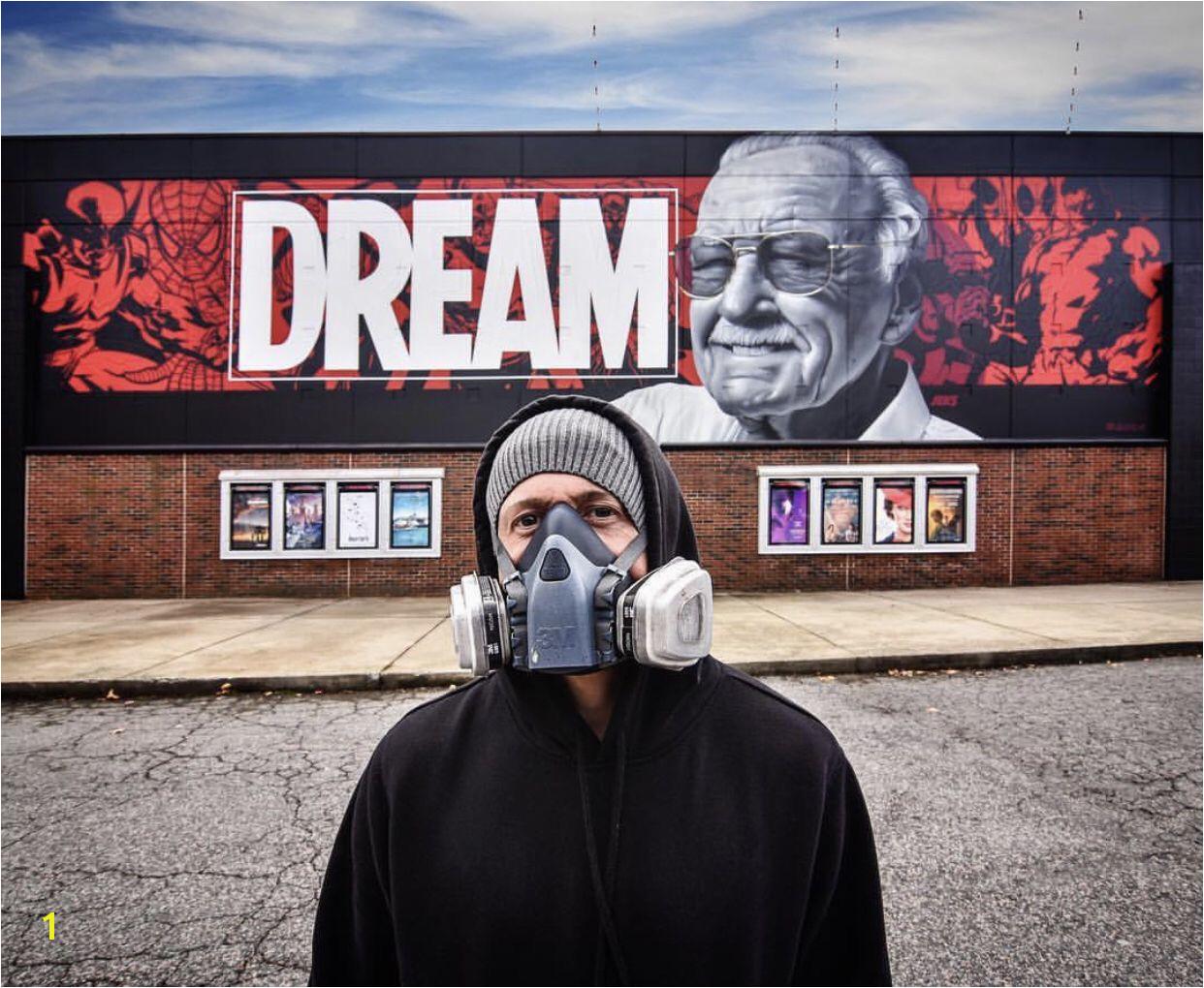 Stan Lee Mural by JEKS in Greensboro NC stanlee stanleemural jeks greensboro