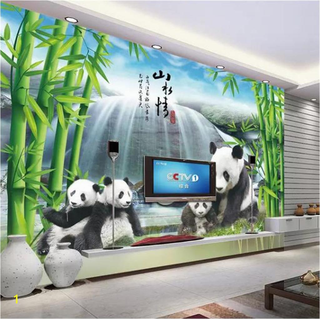 Custom Wallpaper 3d National Treasure Panda Bamboo Forest Waterfall Living Room Bedroom Background Wall Decoration Wallpaper Hd Wallpapers Hd