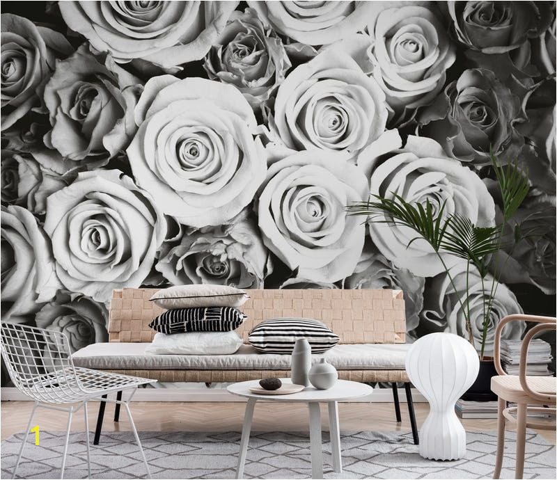 Roses black and white Wallpaper from Happywall