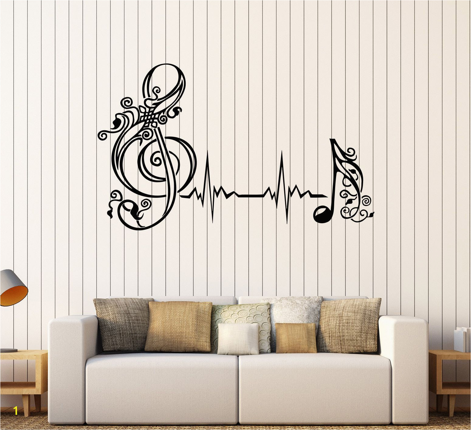 Vinyl Wall Decal Musical Note Heartbeat Pulse Music Art Stickers 530ig