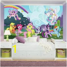My Little Pony Ponyville XL Chair Rail Prepasted Wall Mural 7 Panel