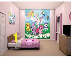 My little pony wall mural with all the bright and colourful ponies Available now at