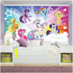 "Prepasted My Little Pony Cloud XL Chair Rail Ultra Strippable 10 5 L x 6"" W Wall Mural"