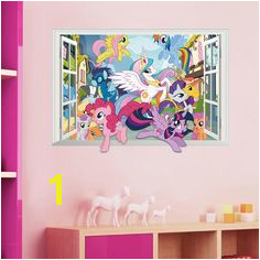 Twilight Sparkle Apple Jack Pinkie Pie wall stickers for kids room decor 3d window mural art