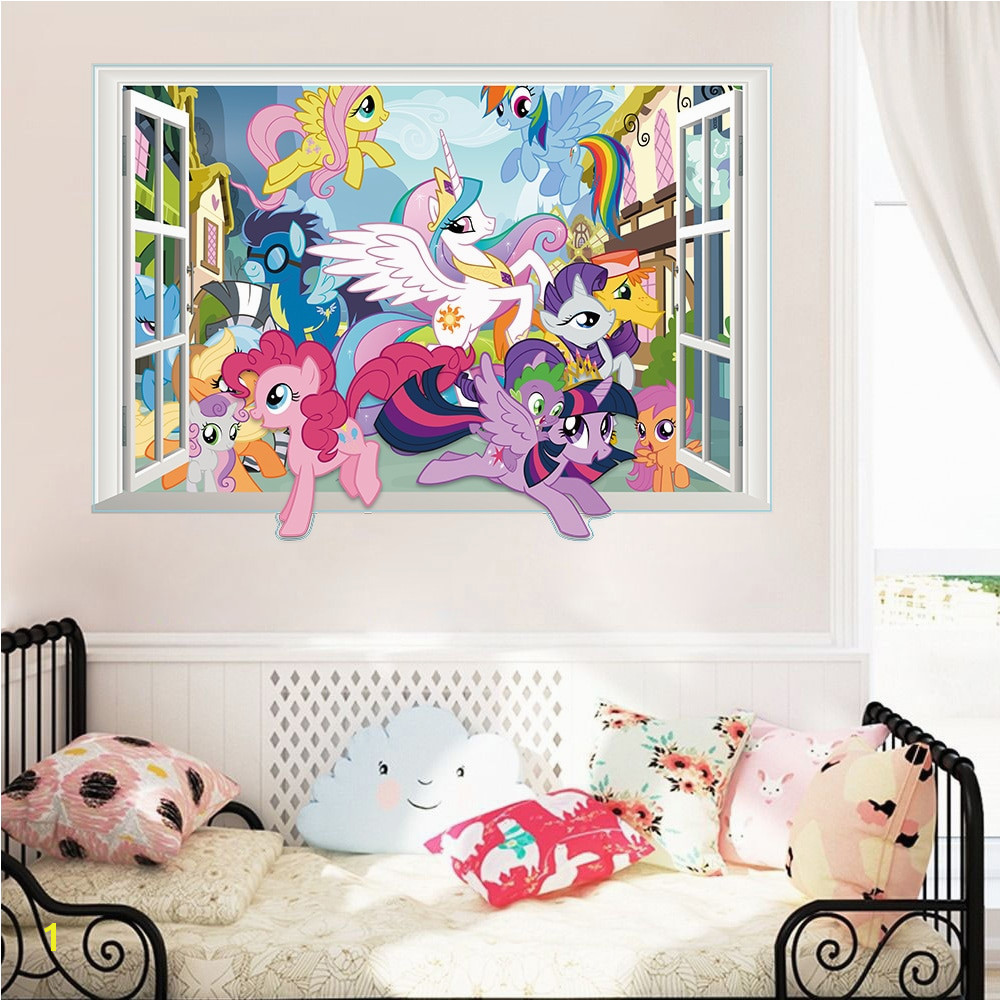 Twilight Sparkle Apple Jack Pinkie Pie wall decor stickers bedroom decor carton horse 3d window mural art decals girls t in Wall Stickers from Home