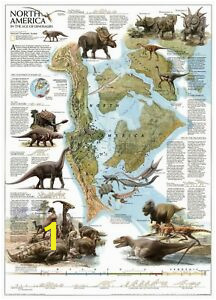 Image is loading Dinosaur Wall stickers North America Education map Decoration