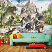 Custom 3D Mural Wallpaper Cartoon Dinosaur World Bedroom Living Room Sofa TV Background Wall Murals Wallpaper For Walls 3D