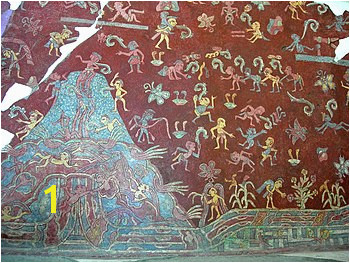 "The Mountain of Abundance mural also known as the ""Paradise of Tlaloc"" Circa 450 600 AD original fresco"