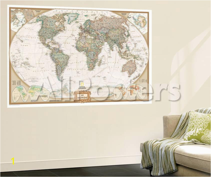 French Executive World Map Wall Mural by National Geographic Maps at AllPosters