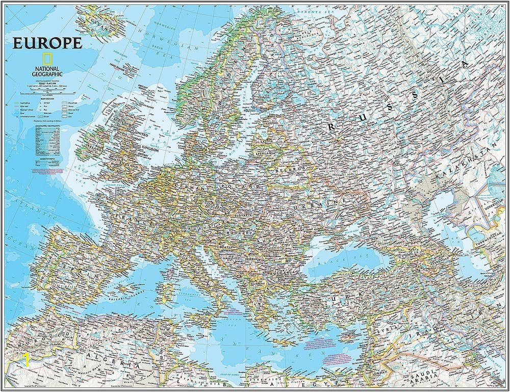 National Geographic Wall Murals National Geographic S Classic Europe Map Wall Mural Self Adhesive