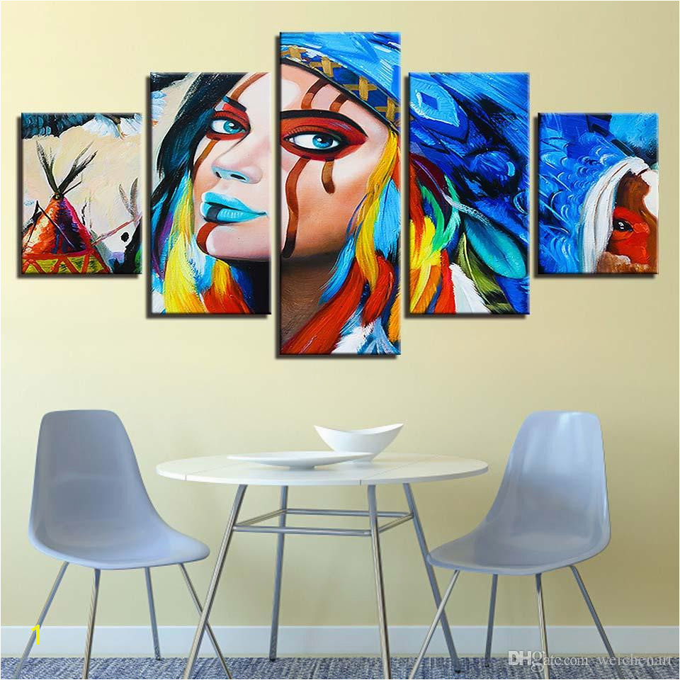 Canvas Wall Art HD Prints Paintings Indians Feathers American Native Girl Poster Living Room Home Decor